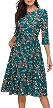 Simple Flavor Women's Floral Vintage Dress Elegant Midi Evening Dress 3/4 Sleeves (XH0360Green, Medium)