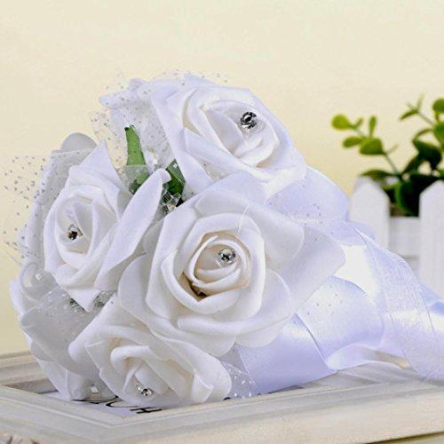 Wedding Bouquet,Crystal Roses Pearl Bridesmaid Bridal Artificial Silk Flowers (White) Silk Flower Arrangements