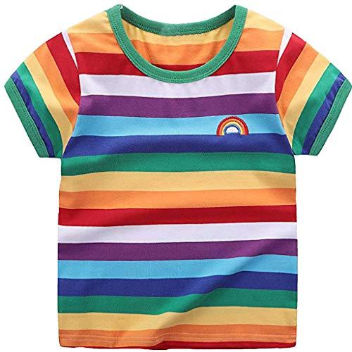 VICKY-HOHO Günstige Kinderkleidung Sommer, 7 Jahre Kleinkind Kinder Baby Mädchen Junge Regenbogen T-Shirt Tops Gestreifte Outfits Unisex Kleidung Schickes Geschenk St. Patrick's Day (Multicolor)