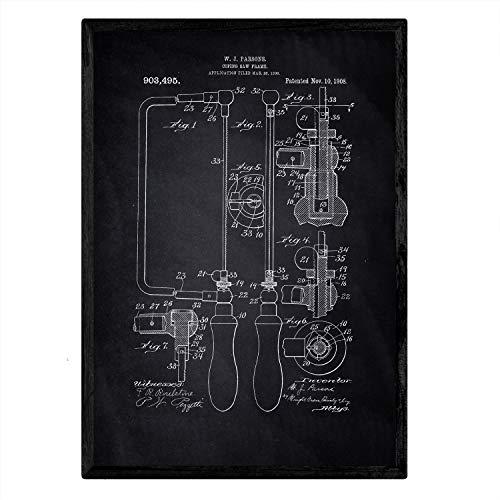 Poster Nacnic Patent Marco zag. Blad met oud ontwerp patent A3-formaat met zwarte achtergrond