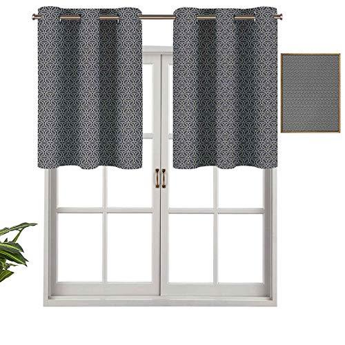 Hiiiman Cenefa de cortina para interiores y hogares, diseño de panal circular y triángulos, arte abstracto moderno, juego de 1, 91,4 x 45,7 cm para baño y cafetería.