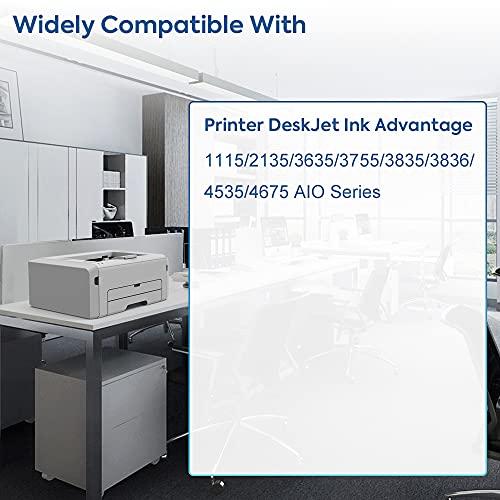 IDIAK Cartuchos de Tinta 652 remanufacturados compatibles con HP 652 con HP Printer DeskJet Ink Advantage 1115 2135 3635 3755 3835 3836 4535 4675 AIO Series Negro + Tricolor
