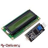 AZDelivery Modulo Pantalla LCD Display Verde HD44780 1602 con interfaz I2C 16x2 caracteres compatible con Arduino con E-book incluido!