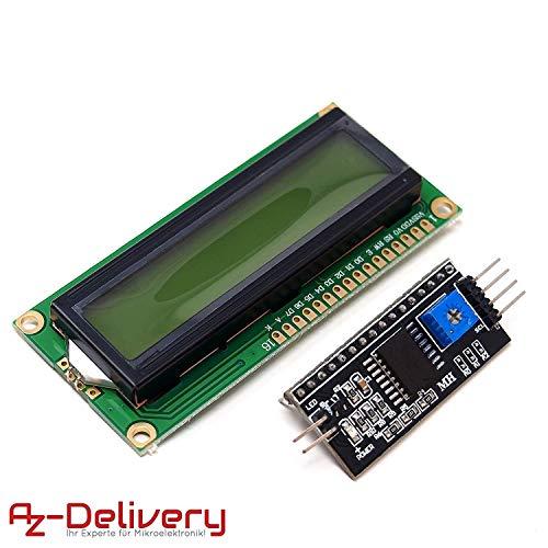 AZDelivery HD44780 16x2 LCD Modul Display Bundle mit I2C Schnittstelle 2x16 Zeichen inklusive E-Book! (mit Grünem Hintergrund)