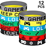 12 Pieces Video Game Bracelets Rubber Bracelets Game Party Wristbands Supplies Colored Silicone Bracelets for Gamer Birthday Party Favors (12 Pieces, 6 Style)