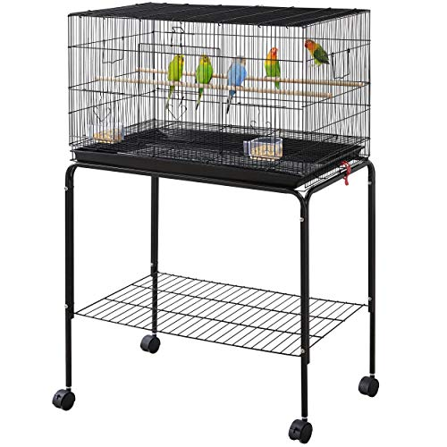 YAHEETECH 47-inch Rolling Breeding Flight Bird Cages for Parakeets Budgies Finches Cockatiels Conures Lovebirds Canaries Parrots w/Detachable Stand, Black