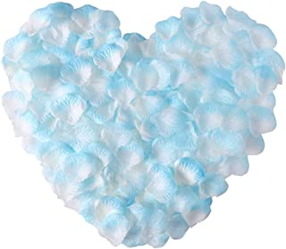 APICCRED 2000 PCS Artificial Silk Flower Rose Petals for Bridal Wedding Party Decoration (White and Blue)
