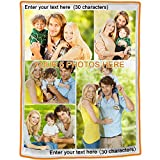 Sobeamix Personalized Blanket with Picture Custom Collage Throw Blankets,Soft Flannel Blanket Suitable for Baby Mom for Father's Day,Children's Day,Birthday Wedding,Couple Gifts,Full Color Printing