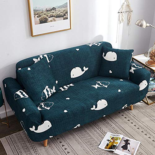 Very easy to use Slipcover Stretch L shape sofa cover Furniture Protector Swimming whale cub milk silk fabric sofa bed cover, with 3 Pillow Cases Furniture Protector with Elasticity for Kids