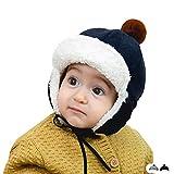 FOLDING ハット 帽子 冬の男の赤ちゃんのキャッチャーハットイヤーマフキャップ暖かいぬいぐるみインナー幼児ハット キャップ (Color : Navy blue, Size : M 10-36 months)