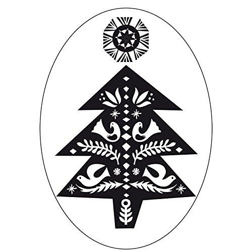 Rico Design stempel kerstboom, versierd, ovaal, natuur