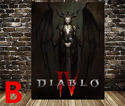 TYDH Diablo IV HD Spiel Poster Diablo Iv Lilith Leinwand Poster Gemälde Schlafsaal Wohnung Dekoration Schlafzimmer Wandaufkleber 60X80cm B.