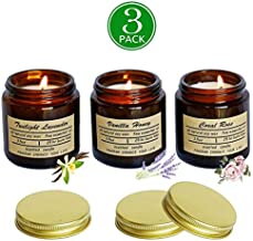 Scented Candles Soy Candle - Rustic Scented Candle Soy Candles Amber Jar Candles Scented Natural Stress Relief Candle Apartment Essentials New Home Gift Ideas House Decor Long Lasting Candle-3 pack