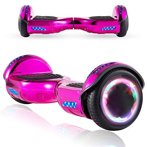 Magic Vida Skateboard Elettrico 6.5 Pollici Bluetooth Power 700W con Due Barre LED Monopattini elettrici autobilanciati di buona qualità per Bambini e Adulti(Rosa Cromo)
