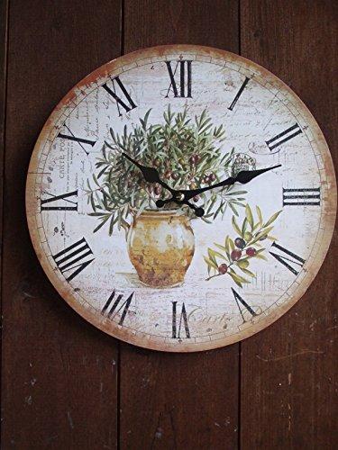 Wunderschöne, mediterrane Wanduhr mit Olivendekor, 28 cm, Landhaus