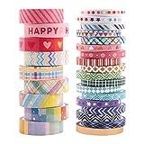 Washi Tape,27 rotoli di nastro per mascheratura Nastri decorativi in di diversi colori di modelli Nastro per scrapbooking arte e artigianato fai-da-te e confezioni regalo Decorazioni,2 dimensioni