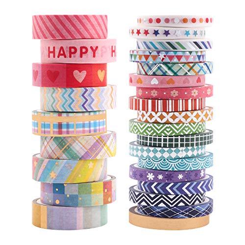 Washi Tape,27 Rollen Masking Tape Folie Dekor Bänder 27 Farben Muster Sammlung Washi Tapes Scrapbooking Tapes für DIY Art Crafts und packung Holiday Decoration Office,2 Größe