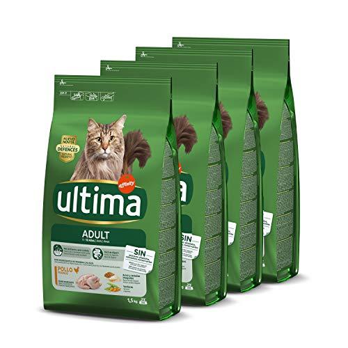 ultima Pienso para Gatos Adultos con Pollo - Pack de 4 x 1.5 kg, Total: 6 kg