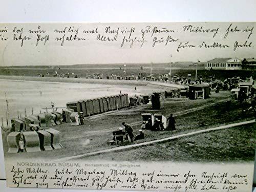 Nordseebad Büsum. Herrenstrand mit Sandstrand. Alte, seltene AK s/w. gel. 1905. Partie am Strand, Panoramablick, Strandkörbe, Personen, Gebäude im Hintergrund