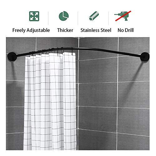 Dysel douchegordijn stang verstelbare L vorm gebogen douchegordijn staaf voor hoek, badkamer, garderobe, privé ruimte muur gemonteerd dikke roestvrij staal