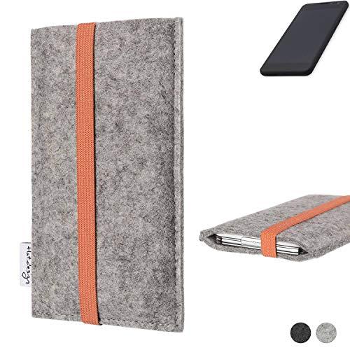 flat.design Handy Hülle Coimbra für Shift Shift5.3 - Schutz Case Tasche Filz Made in Germany hellgrau orange