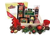 Als Weihnachtsgeschenk verpacktes Wurstgeschenk