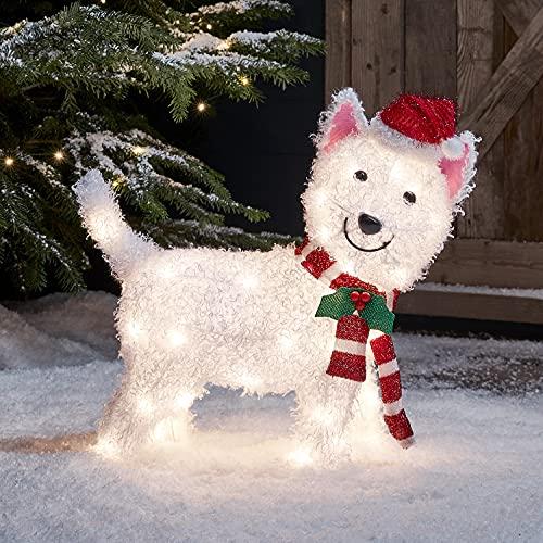Lights4fun 50er LED Westie West Highland White Terrier Weihnachtsbeleuchtung Weihnachtsfigur Timer