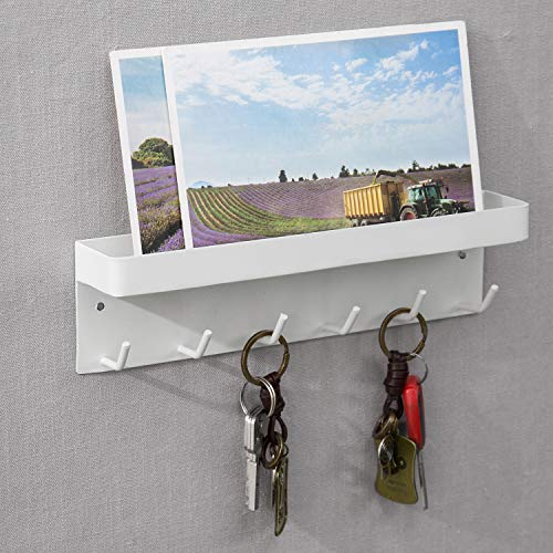 MyGift 6-Hook Wall Mounted White Metal Key Holder with Top Shelf