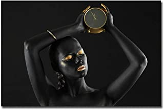 African American Girl with Facial Golden Makeup Portrait Poster on Canvas Print Art Fashion Photography Model Giclee Painting Modern Bedroom Wall Art Abstract Canvas, No Stretching,B,60×90cm