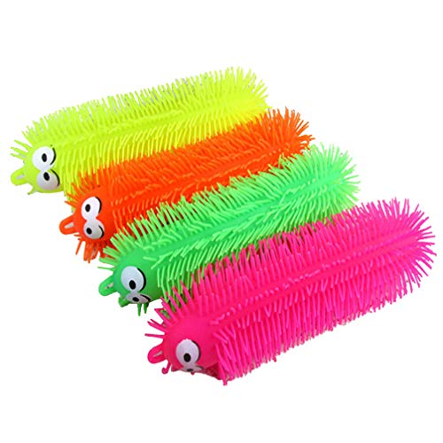 NUOBESTY 1pcs Flashing Light Up Stretchy Caterpillars, Squishy Stress Balls Toy, Anxiety and Stress Relief Toys for Adults Teen Kids(Random Color)