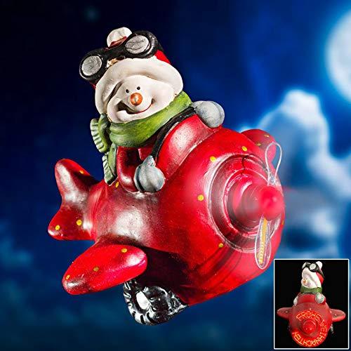 HAC24 Deko Schneemann im Flugzeug Weichnachtsdeko Weihnachten Figur Dekofigur Weihnachtsfigur Beleuchtet Weihnachtsbeleuchtung Dekoration mit wechselnden Schriftzügen