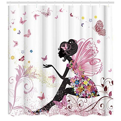 Fashion Duschvorhang, Feen-Mädchen mit Flügeln in einem Blumenkleid, Fantasy-Garten, fliegende Schmetterlinge, Stoffstoff, Badezimmer-Dekor-Set mit Haken, 72 x 72 cm