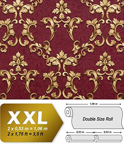 Barock Tapete EDEM 9085-25 heißgeprägte Vliestapete geprägt mit floralen 3D Ornamenten schimmernd rot bordeaux-violett gold 10,65 m2