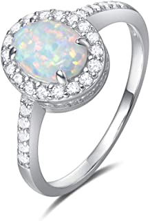 925 Sterling Silver White Created Opal Oval Rings Gold Plated Dainty October Birthstone Engagement Rings for Women Size 5/6/7/8