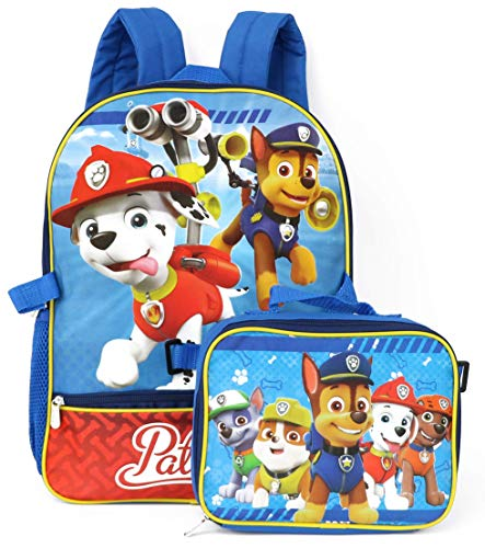 Nickelodeon Boys' Paw Patrol Backpack with Lunch, Blue/Red, ONE SIZE
