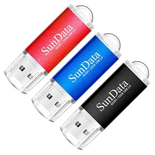 SunData USB Stick 32GB 3 Stück USB 2.0 Speicherstick Flash-Laufwerk Memory Stick (3 Mischfarben: Schwarz, Blau, Rot)