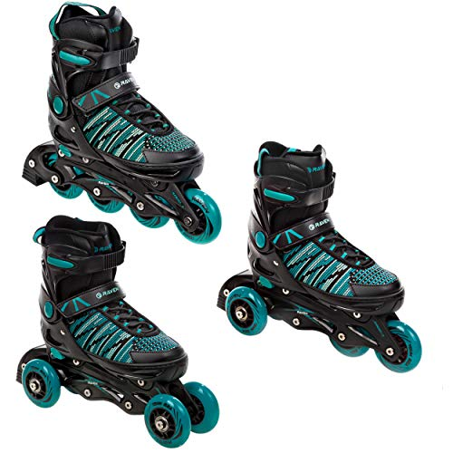 RAVEN 3in1 Inline Skates Inliner Triskates Rollschuhe Vella Black/Mint verstellbar (Black/Mint, 40-43 (25cm-27,5cm))