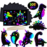 AMINORD Arts and Crafts for Kids Ages 8-12 - 108 Pcs Rainbow Magic Unicorn Scratch Paper Kits - Fun DIY Scratch Art Paper Set for Girls Boys Toddlers Ages 3-5 4-8 Birthday Party Gifts