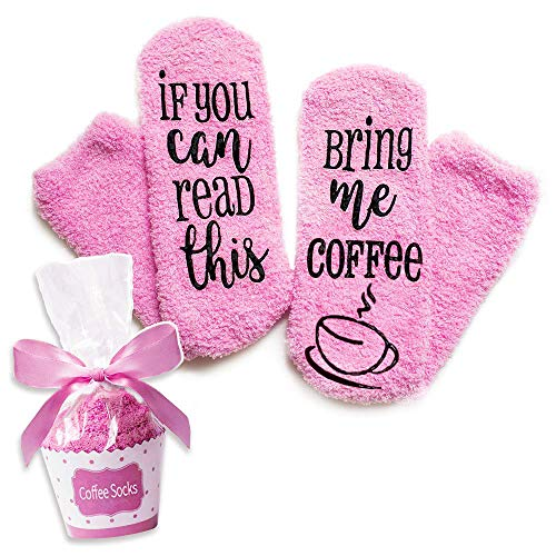 CoffeeSocks 'If You Can Read This Bring Me Coffee' Funny Novelty Luxury Socks( pink)