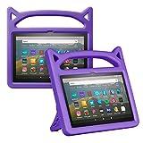 Foluu Funda para Kindle Fire HD 8 y Fire HD 8 Plus (décima generación, lanzamiento de 2020), a prueba de golpes para niños con soporte para Kindle Fire HD 8 2020 (morado)