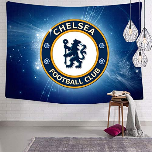 HSUIHA Wall Tapestry Chelsea Football Logo Wall Art Decoration Tapestry Wall Hanging for Living Room Bedroom Dorm Decor 59.1x 59.1 Inch