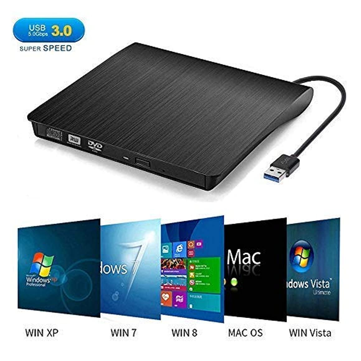 External CD DVD Drive, Dainty USB 3.0 Portable CD DVD +/-RW Drive Slim DVD/CD ROM Rewriter Burner Writer, High Speed Data Transfer for Laptop/Desktops Windows xp /7/8.1/10 and Linux OS