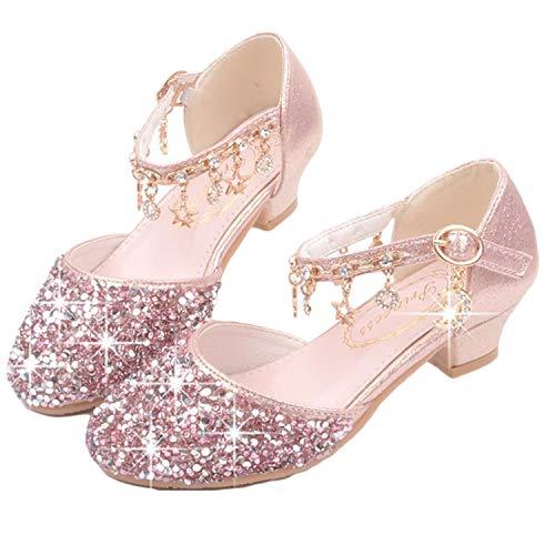 YOGLY Princesa Elsa Zapatos para Niña Tacón Altos Regalo Sandalias de Vestir Antideslizante Punta Cerrada Zapatos de Disfraz Boda Ceremonia Zapatos de Vestir EU26-38