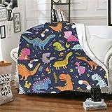 wodealmug Boys' Cute Dinosaur Fleece Throw Blankets,Lightweight Soft Sherpa Fleece Blanket for Baby/Kids/Youth (50'x60',Dinosaur)