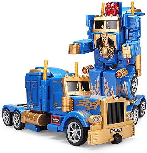 YARMOSHI Robot Truck 2 in 1 Action Figure, Autobot. This Remote Control Fighter Toy has a USB Connection for Easy Charging. Made of Safe, Sturdy Materials. (Blue-Gold)