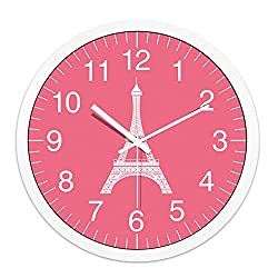 Imoerjia Creative Paris Eiffel Tower Metal Personalized Decoration Clock Table Stylish Living Room Wall Clock, 12 Inch - Silver Box