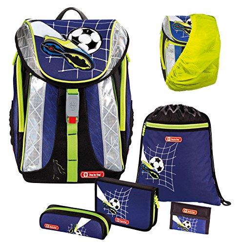 TOP SOCCER - Fußball Football - FLEXLINE Schulranzen-Set 6 tlg. Step by Step Hama mit REGENSICHERHEITSHÜLLE für Schulranzen