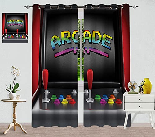 """Arcade Games Thermal Insulated Panels, Arcade Machine Retro Game Fun Joystick Buttons Vintage 80s Electronics Blackout Curtains with Grommet Top, 96"""" W x 84"""" L Multi"""