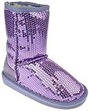 Pom-016KM Little Girls Sequin Slip On Shearling Boots Purple 9