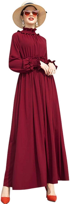 QAQBDBCKL Ruffled Trench Dress Office Lady Spring Autumn Runway Dress Women'S Red Ankle-Length Long Dress
